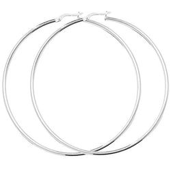 Sterling Silver Large Plain Hoops