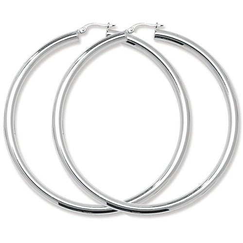Sterling Silver Medium Plain Hoops