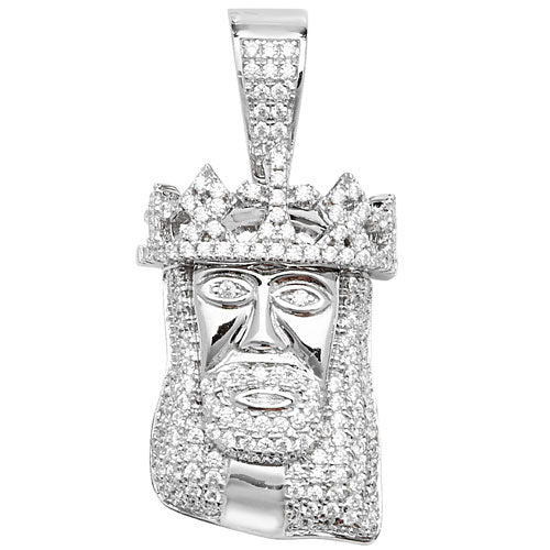 Silver Jesus Christ Face Cubic Zirconia Pendant On Snake Chain