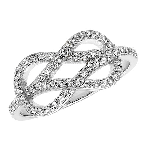 Twisted Cubic Zirconia Designed Ring
