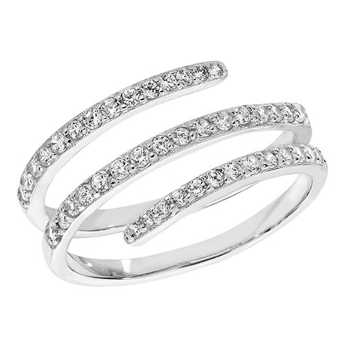 Silver 3 Cubic Zirconia Band Ring