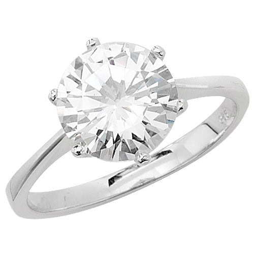 Large Silver Cubic Zirconia Solitaire Ring