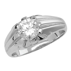 Silver Single Stone Set Cubic Zirconia Ring