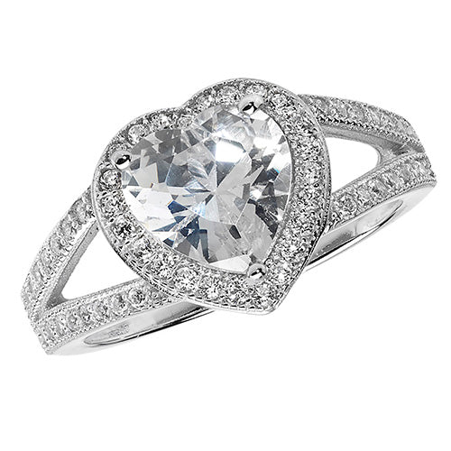 Cubic Zirconia Heart Ring