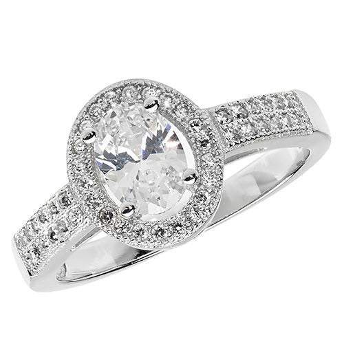 Oval Cubic Zirconia Silver Ring