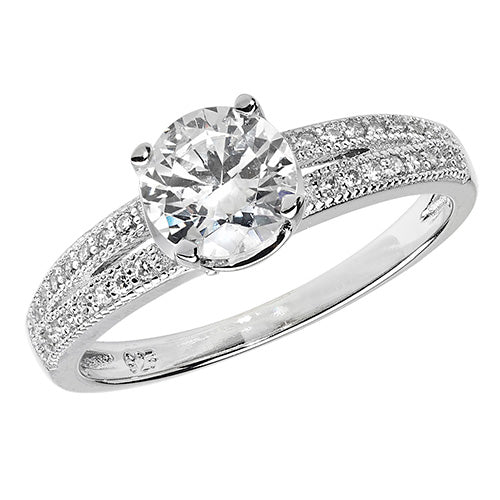 Silver Solitaire Split Cubic Zirconia Ring
