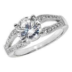 Silver Split Solitaire Cubic Zirconia Ring