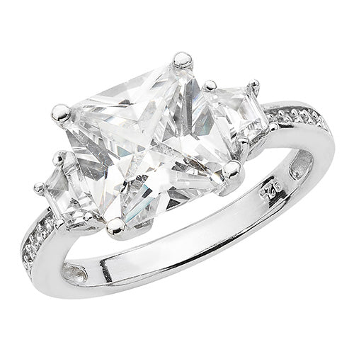 3 Stone Set Cubic Zirconia Ring