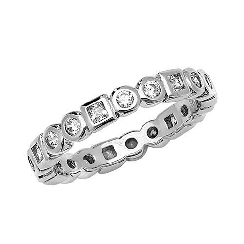 Silver Cubic Zirconia Shape Ring