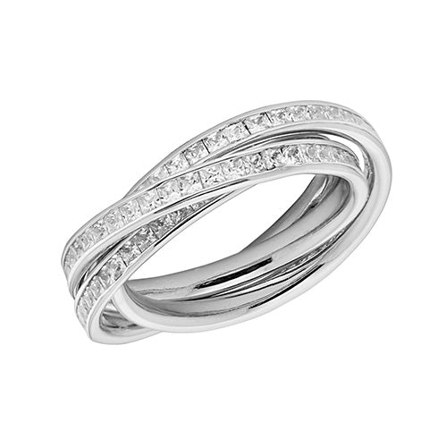 Silver Cubic Zirconia Russian Ring