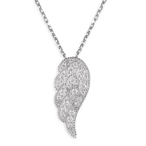 Silver Cubic Zirconia Angel Wing Necklace