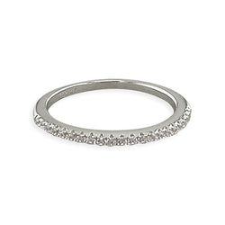 Thin Cubic Zirconia Silver Band