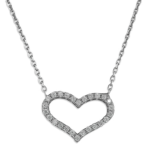 Silver Cubic Zirconia Heart Outlined Necklace