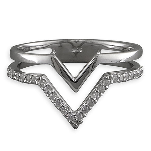 Silver Cubic Zirconia Double Wishbone Ring