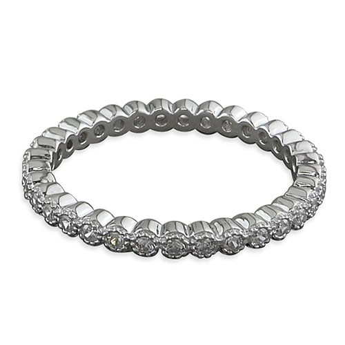 Silver Cubic Zirconia Millgrain Full Eternity Ring