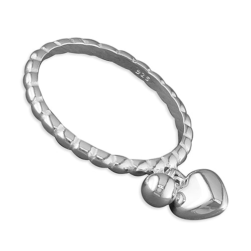 Heart Charm Silver Ring