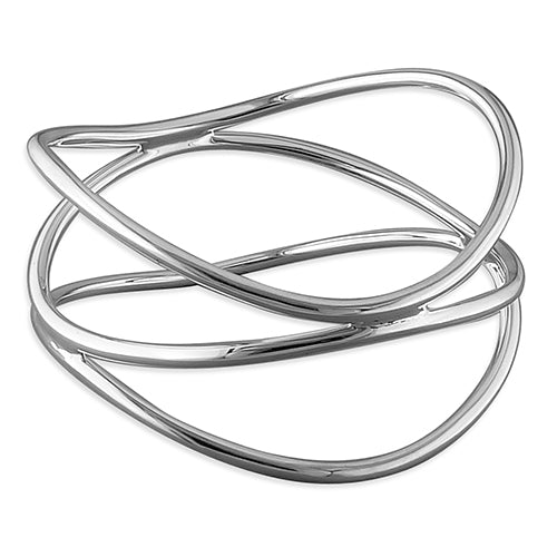 Silver Triple Wave Crossover Bangle