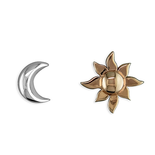 Sterling Silver Crescent Moon and Sun Studs