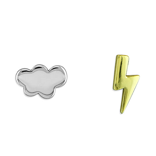 Silver Cloud and Yellow Gold Plated Sterling Silver Lightning Bolt Studs