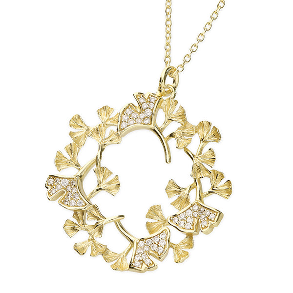 Yellow Gold Plated Cubic Zirconia Flower Necklace