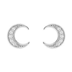 Sterling Silver Detailed Crescent Moon Studs