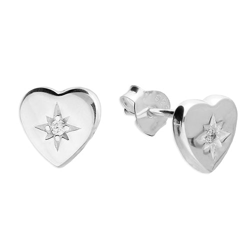 Silver Cubic Zirconia Heart Studs