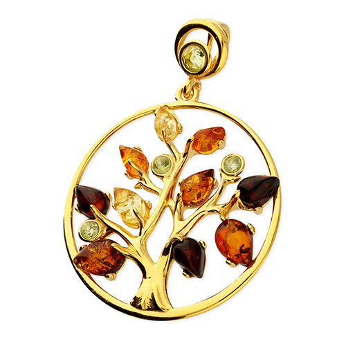 Heavy Mixed Amber Tree of Life in Yellow gold-plated Silver