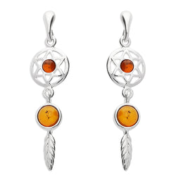 Sterling Silver Amber Dreamcatcher Earrings