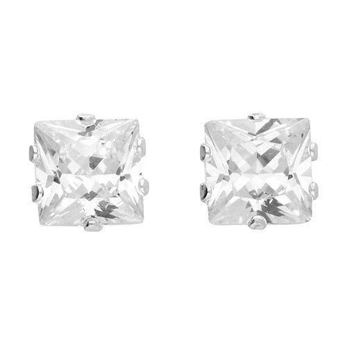Sterling Silver Medium Cubic Zirconia Square Studs