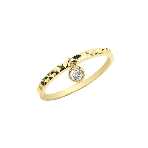 Gold Cubic Zirconia Dangle Ring
