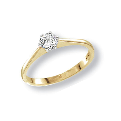 Small Ladies Solitaire Cubic Zirconia Ring