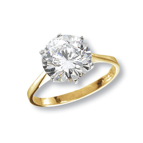 Large Gold Ladies Solitaire Ring