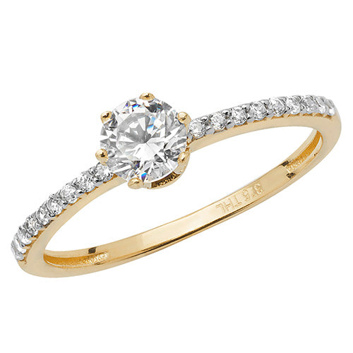 Thin Solitaire Cubic Zirconia Gold Ring