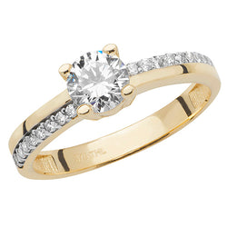 Double Shank Gold Cubic Zirconia Ring