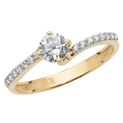 Thin Z Band Solitaire Gold Ring