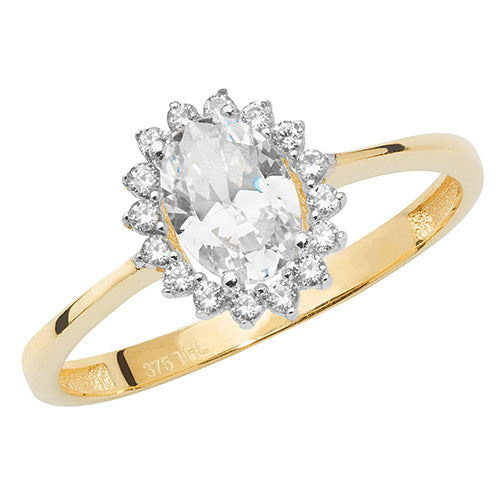 Oval Encrusted Solitaire Gold Ring