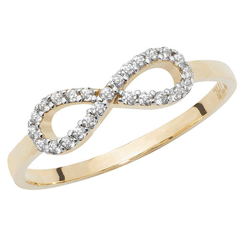 Cubic Zirconia Encrusted Gold Infinity Ring