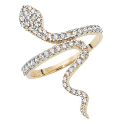Gold Cubic Zirconia Snake Ring