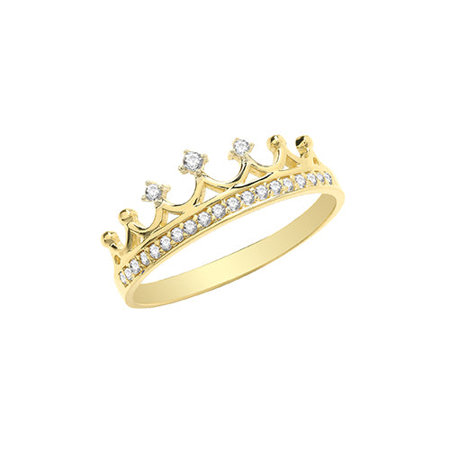 Cubic Zirconia Gold Crown Ring