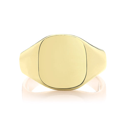 Gold Cushion Signet Ring