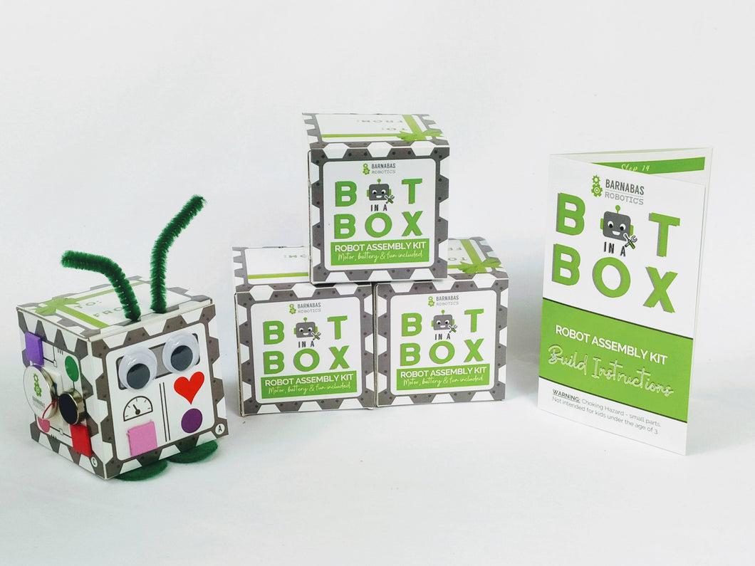 Bot In A Box Craft Robot | Stocking Stuffer | Party Favor | Valentine | Animal | Pack of 4, 8 or 10 | Ages 5+ Robot Party Favors Barnabas Robotics 4-Pack Classic Edition