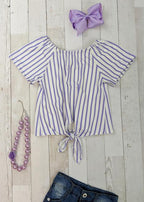 Lavender Striped Tie Front Peasant Top (18m)