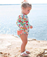 RuffleButts: Swimsuit - Painted Flowers One Piece Rash Guard For Toddler Girls - Charlarue Kids