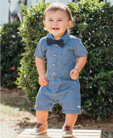 RuggedButts: Light Wash Denim Romper For Baby & Toddler Boys - Charlarue Kids