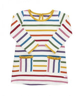 RuffleButts: Harvest Rainbow Stripe Pocket Dress For Girls