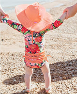 charlarue kids RuffleButts Sunset Garden One Piece Rash Guard Swimsuit rear photo showing ruffles on butt