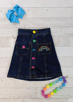 Rainbow Buttons Denim Skirt - S (2T)