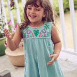 Embroidered Cotton Sloth Dress For Toddler Girl