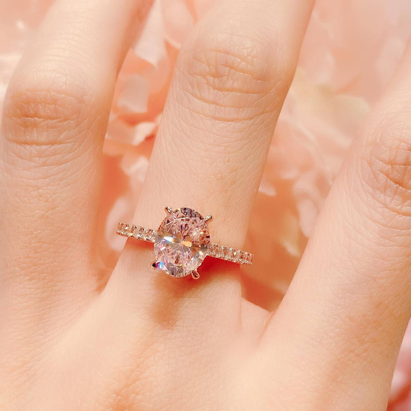 10K Rosegold Pink Oval Cut Pave Solitaire Ring 2卡玫瑰金粉紅鹅蛋形10k戒指 (10KR021)