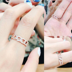 10K Rose Gold Chain Pave Half Round Ring 10K金鎖鏈形碎鑽戒指 (10KR004)